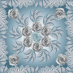 Flower, seamless pattern, gray colours