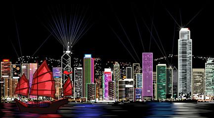 Keuken foto achterwand Art Studio vector illustration of Hong Kong by night
