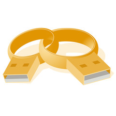 Gold wedding rings stick