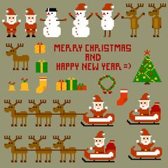 Fotobehang Pixel Pixel Christmas Holidays