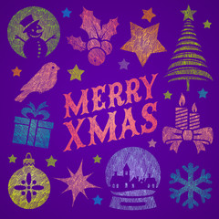 Hand drawn Christmas symbols and signs
