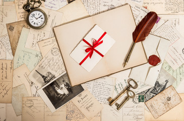 old photos, letters, accessories and postcards