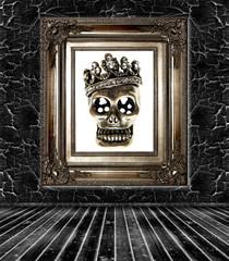 dark room interior with sugar skull