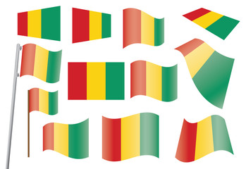 set of flags of Guinea vector illustration