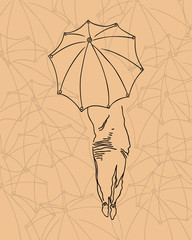 Silhouette of the girl with an umbrella.