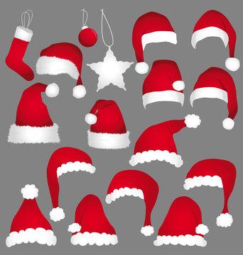 Santa caps collection.