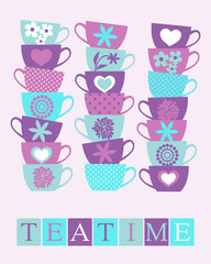 Fototapete - Teatime Card Design