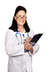 Female Matrue Doctor Smiling and Holding Clipboard
