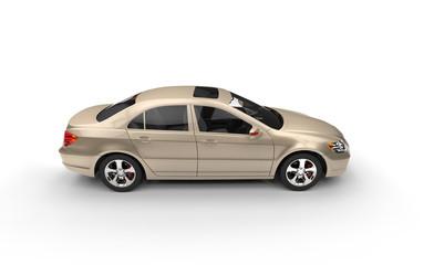 Golden Business Car Top View