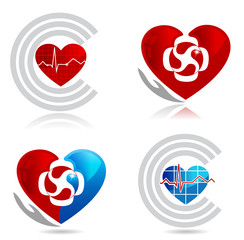 Cardiology, medical and healthy heart symbols