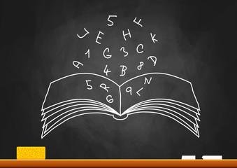 Drawing of book on blackboard