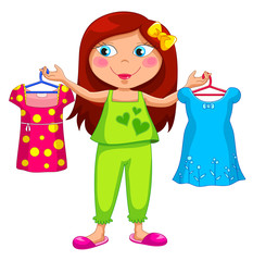 girl holding different outfits