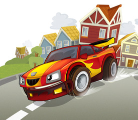 Printed roller blinds Cars Teh sports car - illustration for the children
