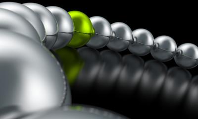 3D Kugeln im Kreis - Grün Silber 03