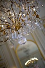 Lustre, éclairage, luxe, pampilles, lumière, ampoule