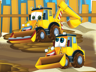 Printed roller blinds Cars Father and son excavators - illustration for the children
