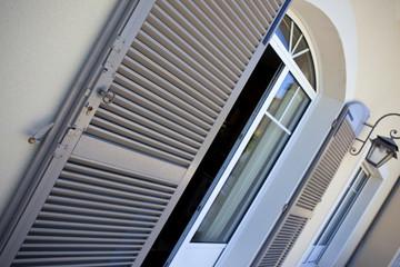 Terrasse, maison, immobilier, luxe, fenêtre, volet