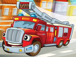 Wall Murals Cars The fire truck to the rescue -illustration for the children