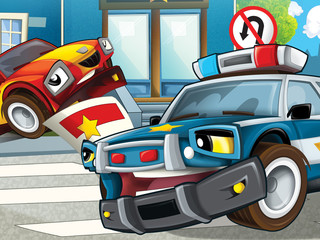 Printed roller blinds Cars Police officer giving ticket - illustration for the children