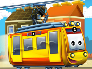 Printed roller blinds Cars Happy tram in the city - illustration for the children