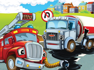 The fire truck rescue - illustration for the children