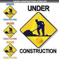 Under construction icon set on white