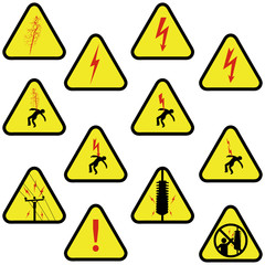 Electricity sign set. Yellow triangle shape.