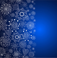 blue vertical cristmas background with white snowflake