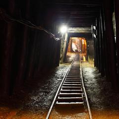 Mine railway in undergroud.