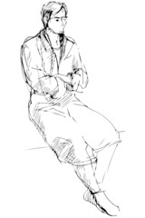 sketch of man in a dressing-gown sits barefoot