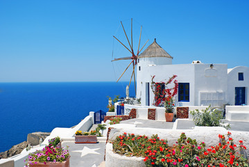 Aluminium Prints Santorini Traditional architecture of Oia village at Santorini island in G