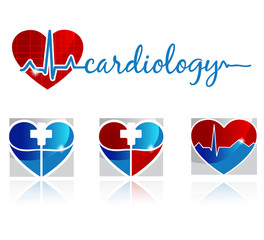 Cardiology, vascular and health care symbols