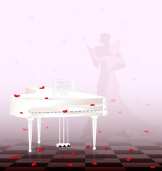 white piano and red petals