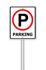 parking traffic sign on white