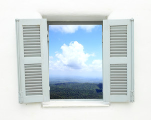 window with mountain and sky view