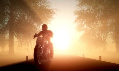 La pose en embrasure Motocyclette Motorcyclist
