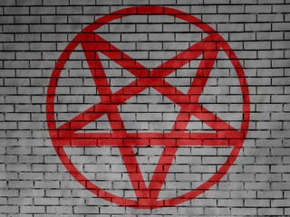 Pentagram symbol painted on