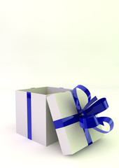 White gift boxes with blue ribbons