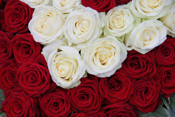 white and red rose Valentine's floral arrangement