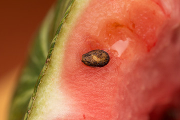 Macro shot of a watermelon with its seeds