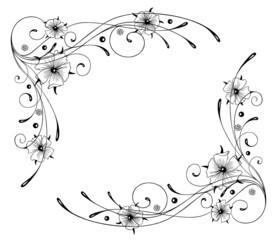 Ranke, Blumen, Rahmen, Kalligraphie, filigran