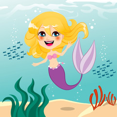 Deurstickers Zeemeermin Beautiful Mermaid Girl