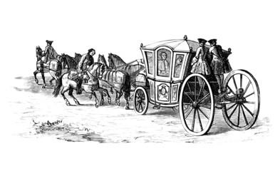 Ancient horse-drawn Coach - end 18th century