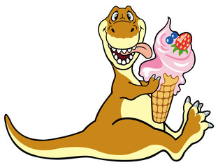 dino eating ice cream
