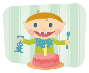 Funny vector illustration of a child one year