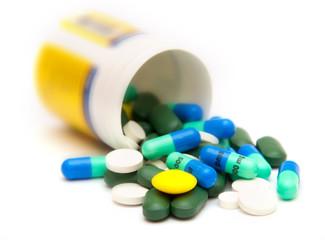 various pills and drugs priparaty