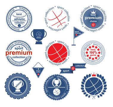 Set of vintage and modern sport elements labels for sale