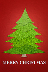 Mulberry paper Christmas Tree and red background.