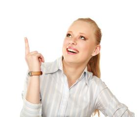 Closeup portrait of pretty happy young woman
