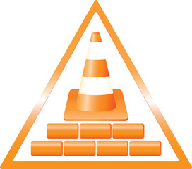 triangular warning construction sign with bricks